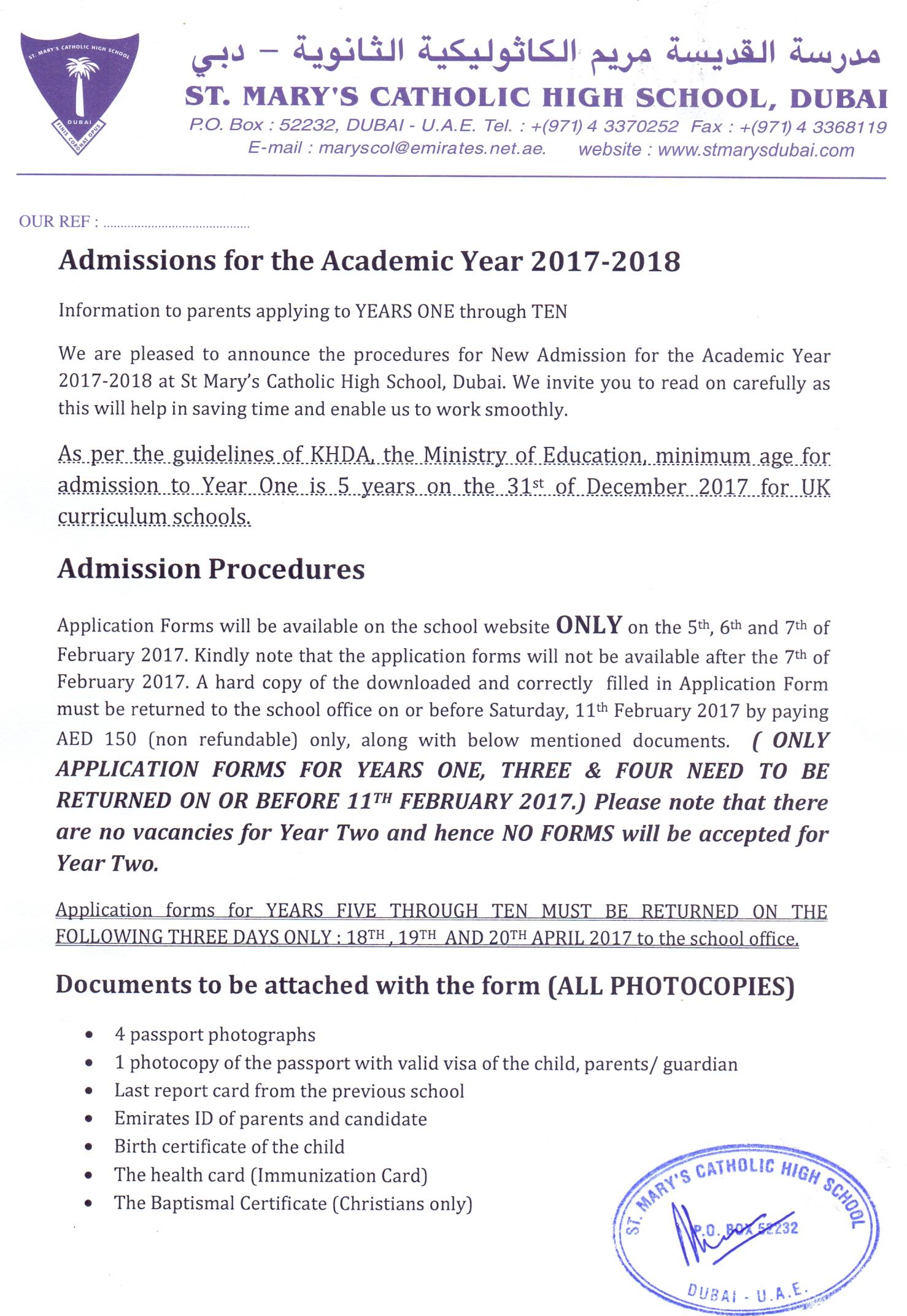 St Marys Catholic School Admissions – Admission Forms of Schools